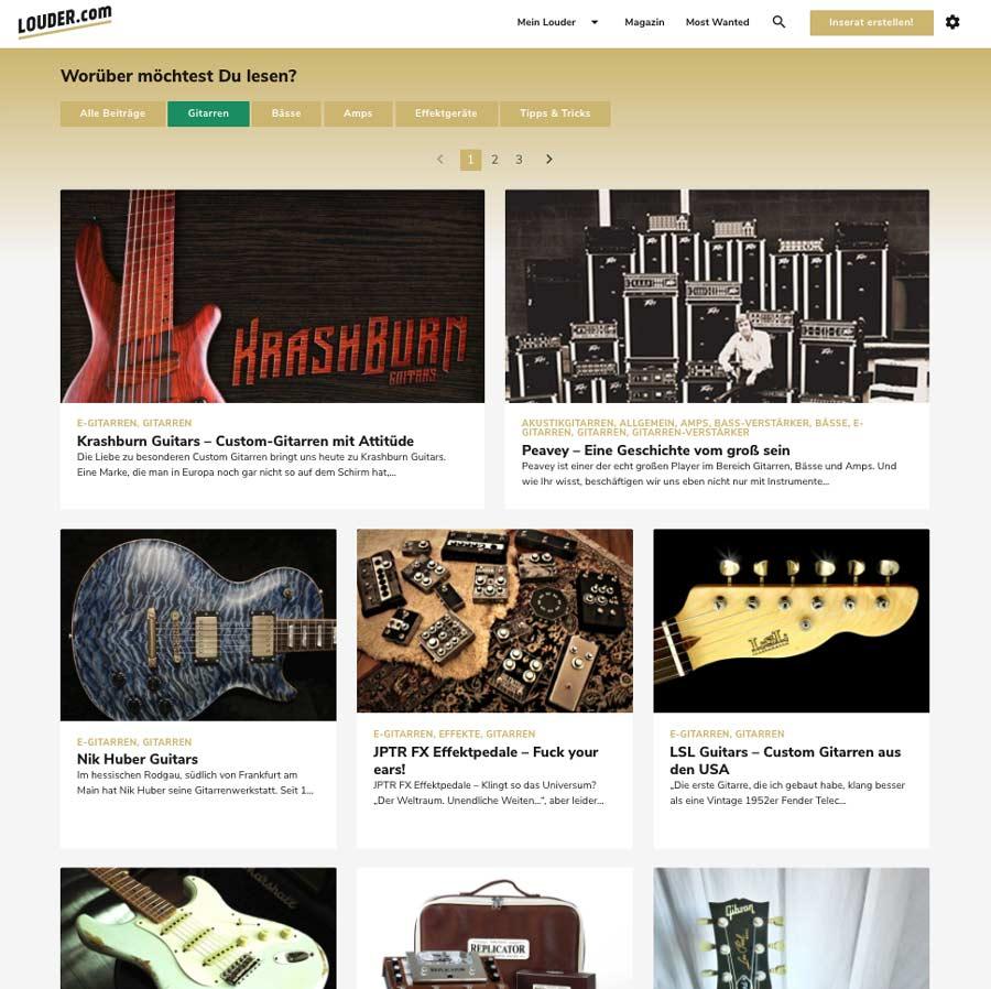 Screenshot der Magazin-Seite auf LOUDER.com